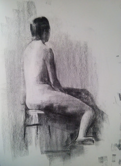 Sitting Nude / Charcoal on Paper