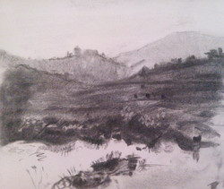 Shilo Valley / Charcoal on Paper