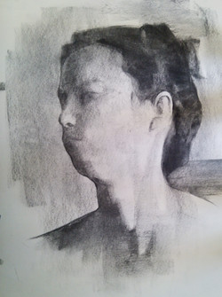 Model Portrait / Charcoal on Paper