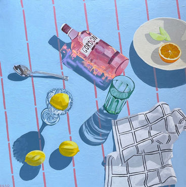Gordons on Blue Tablecloth