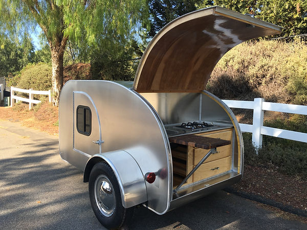 Teardrop camper trailer galley open