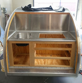 Teardrop camper trailer galley kitchen