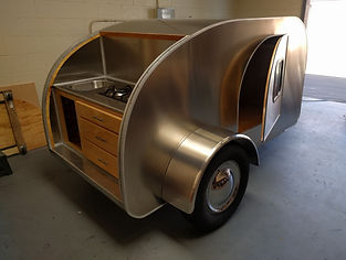 Teardrop camper trailer galley stove