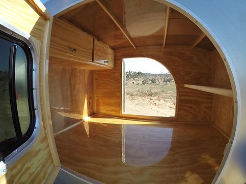 Teardrop camper trailer cabin inside