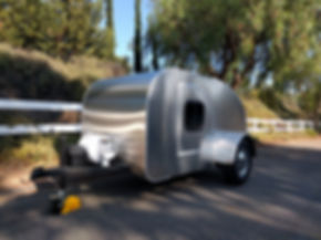 Teardrop camper trailer outside