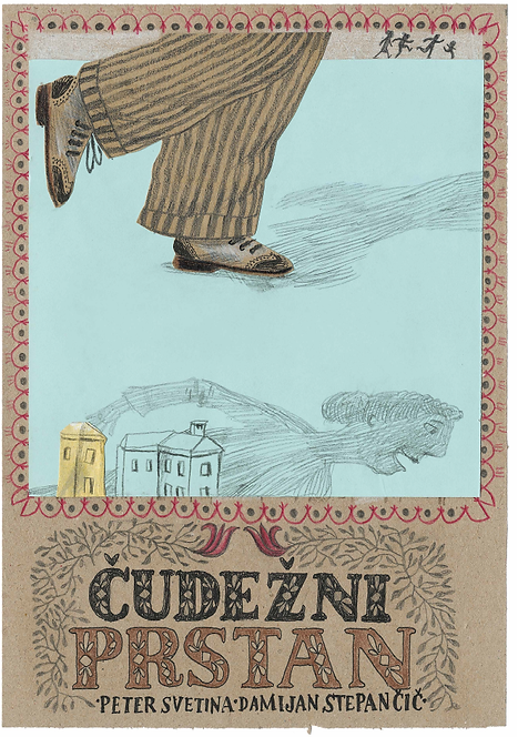 Book cover with an illustration of a pair of legs walking on a light blue ground, projecting a shadow. The bottom of the image contains a sketch of three buildings and a shadow of a lady.