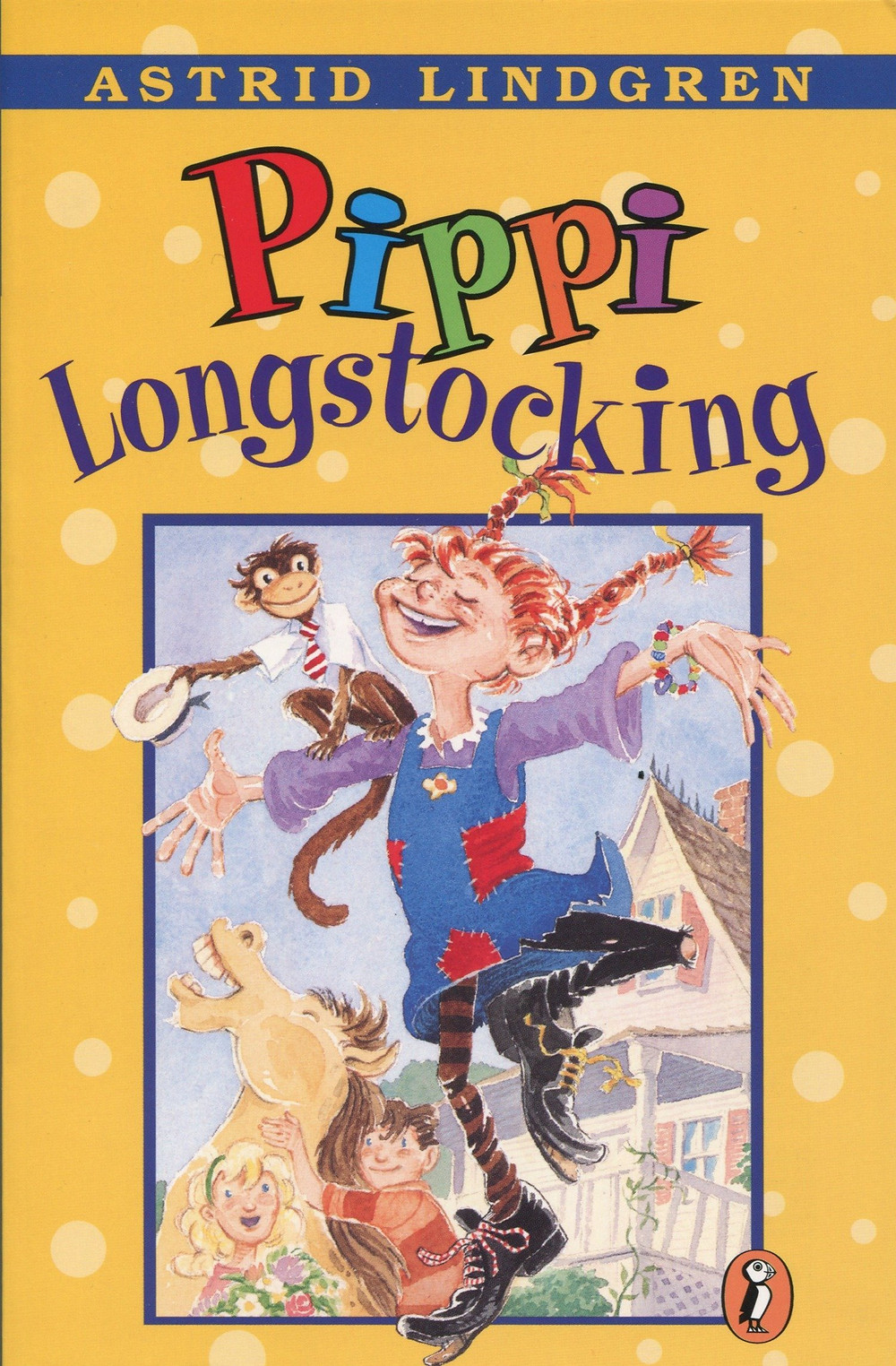 """Cover of the book """"Pippi Longstocking"""" with an illustration of a girl with red hair and braids pointed upwards, wearing a patched dress and long stockings. A monkey lies on her shoulder."""