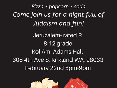 Jewish Teens! Kol Ami Temple Youth Movie Night