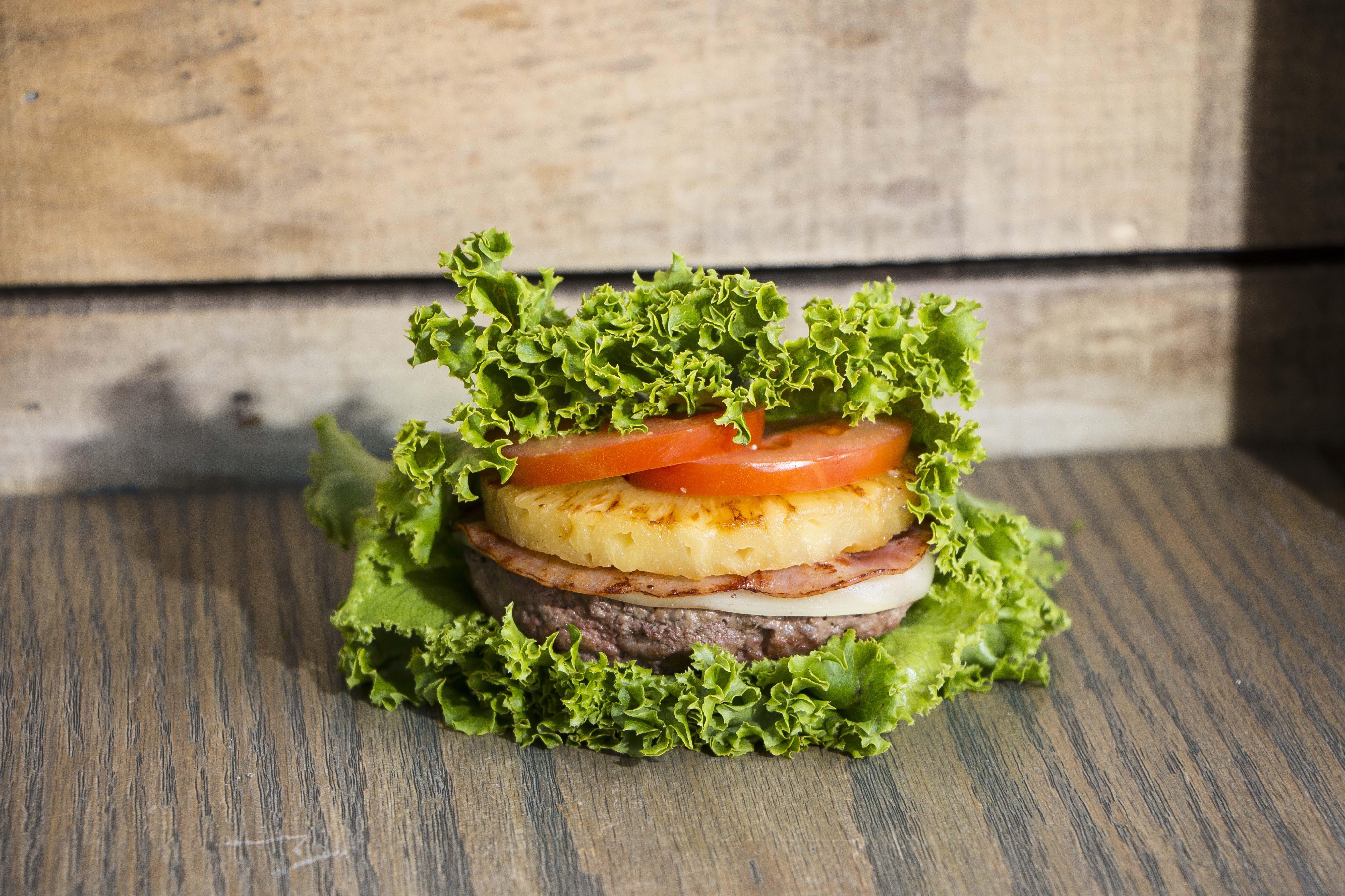 Lettuce wrap on wood