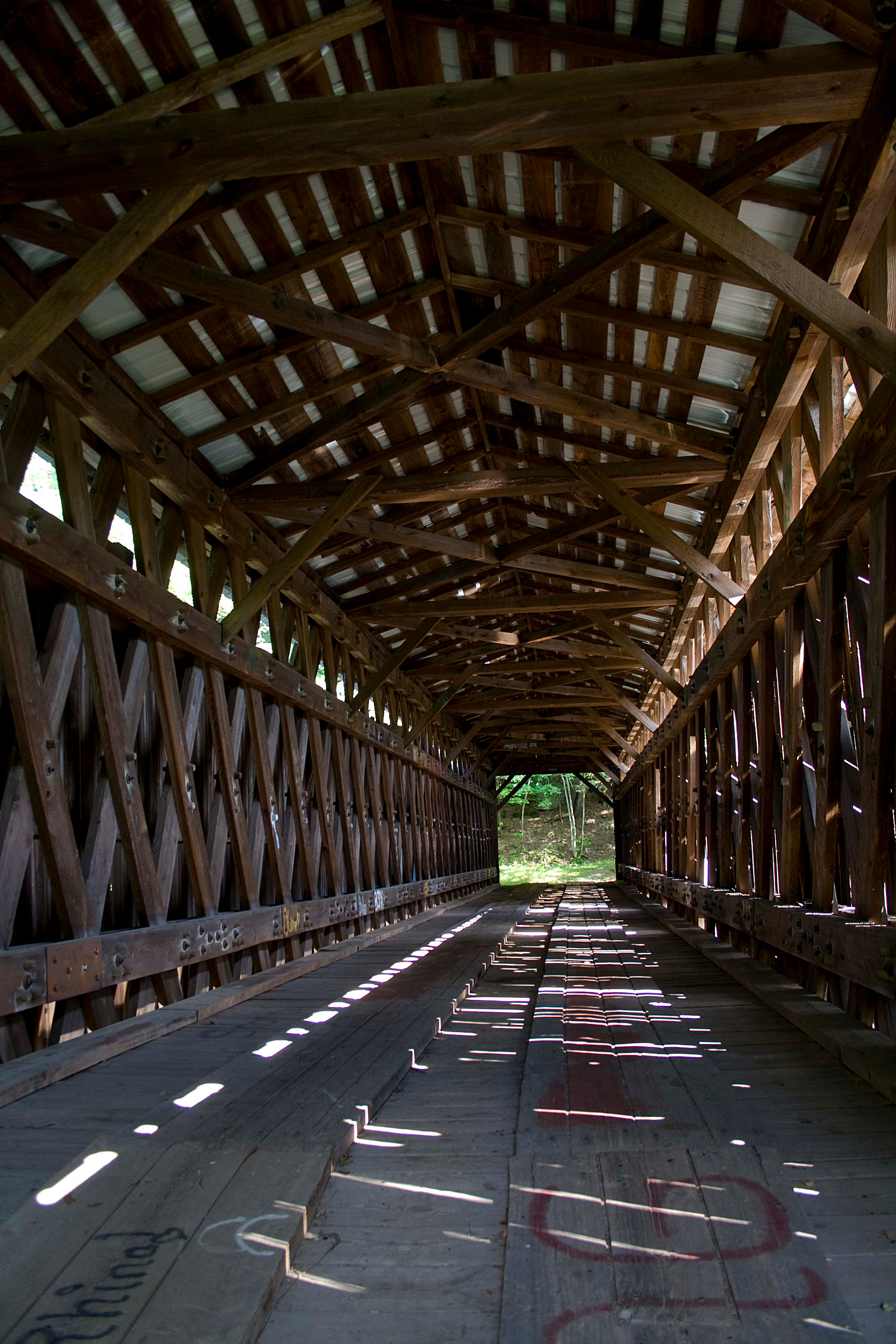 Old Abandoned Covered Bridge inside 2