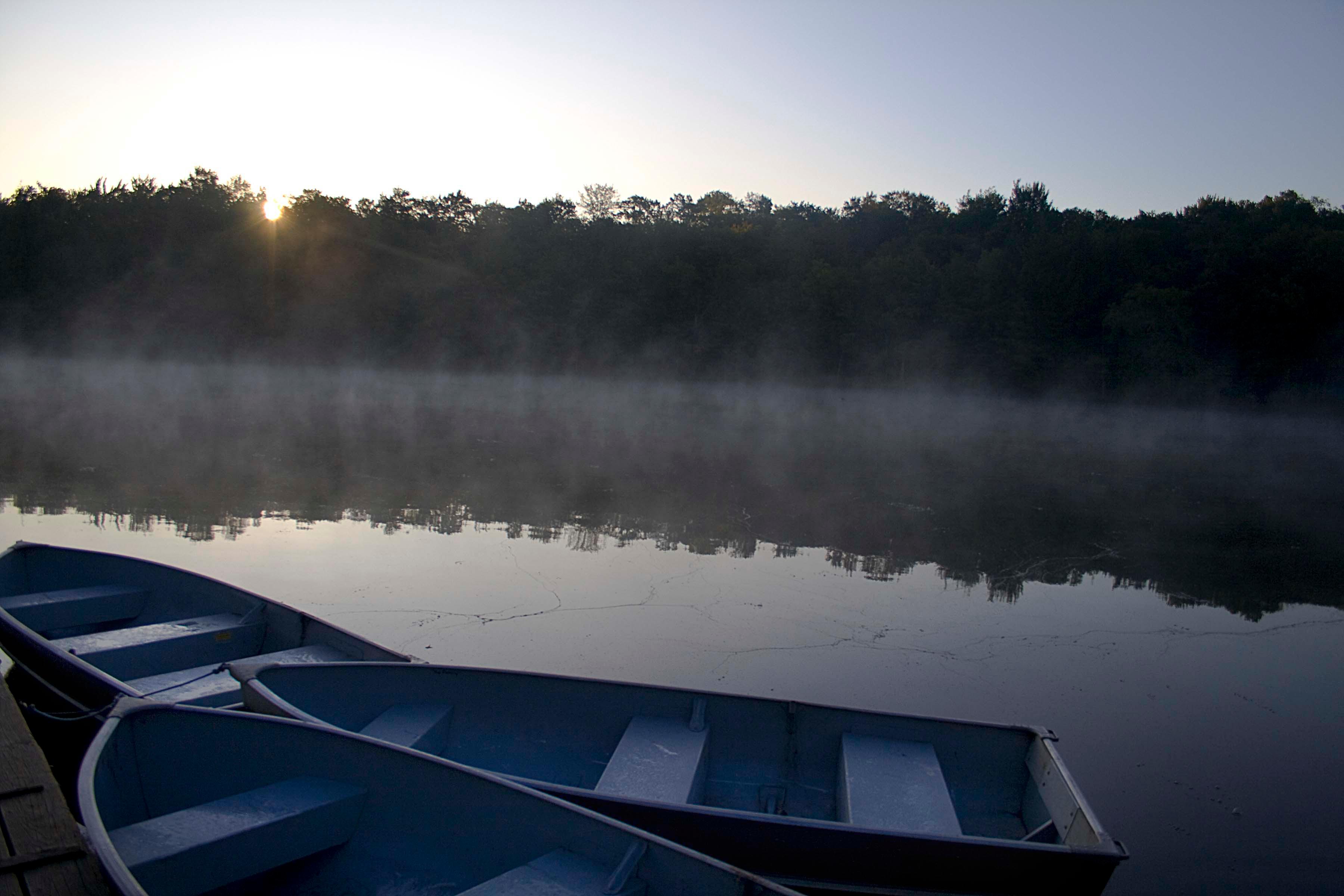 Sunrise Mist with rowboats 1