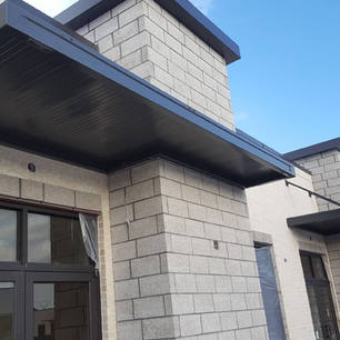Black Overhead Support Canopy into wall