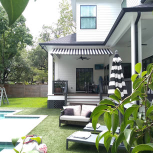 Residential Awning with stripes square