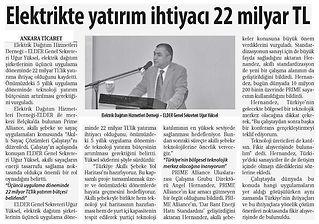 2015_12_14_Ticaret Gazetesi_Elektrikte Yatirim Ihtiyaci 22 Milyar Tl