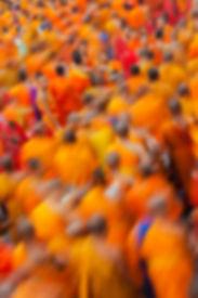 Mönche, monks, orange, Bangkok, Khrung Thep, donation, ralley, Versammlung, collecting, sammeln, Spenden