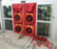 Air barrier, building envelope, calibrated blower door fans