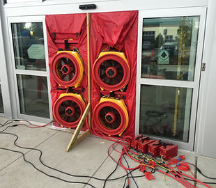 Air barrier, building envelope, calibrated blower door fans