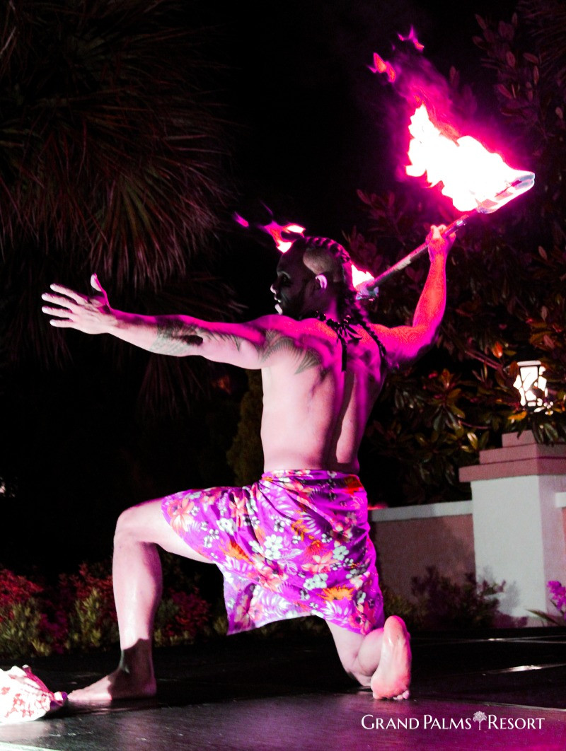 Enjoy our Polynesian Pool Party in Myrtle Beach during your vacation at Grand Palms Resort formerly Plantation Resort