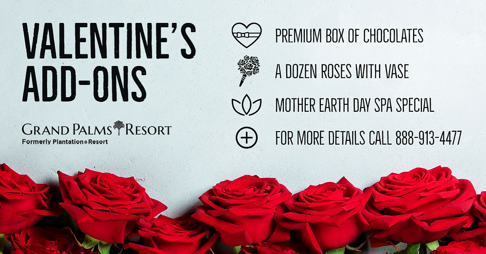 Enjoy a Valentine's Day dinner in Myrtle Beach during your vacation at Grand Palms Resort formerly Plantation Resort.