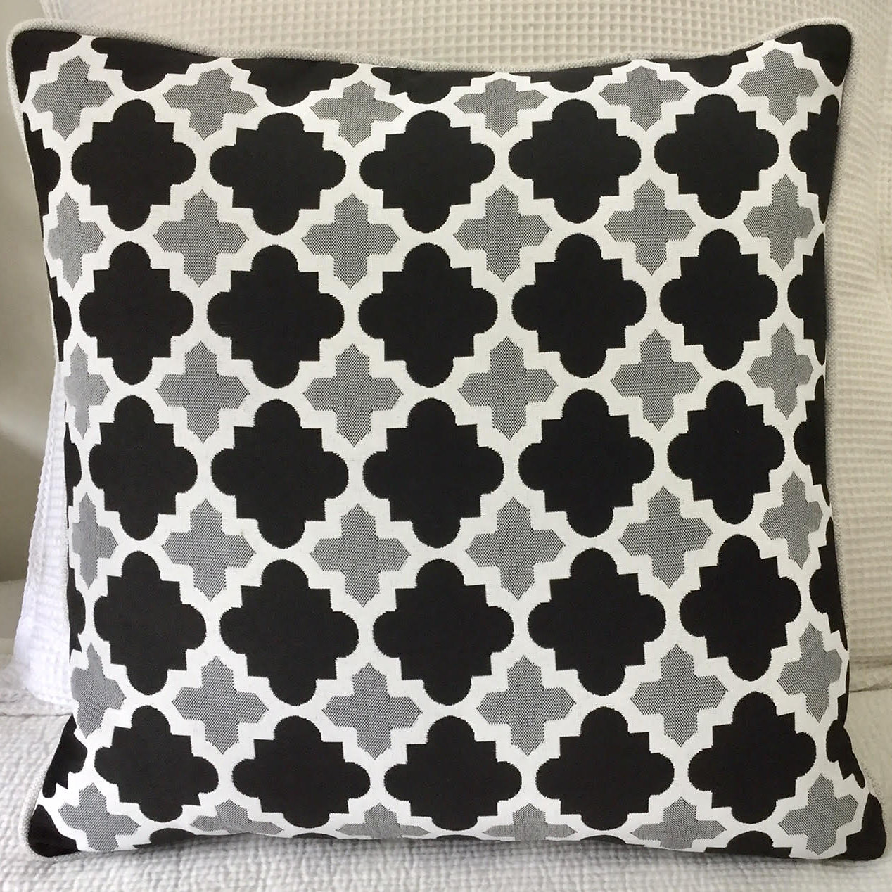 Beautiful Outdoor Cushion In Moroccan Style Outdoor Fabric, Piped In  Contrasting White. Pair Back With Large Outdoor White Cushion 50 X 50.
