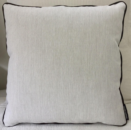 Large Outdoor Cushion in White Outdoor Fabric with Black contrasting Piping 50 x 50. Looks great with Large Outdoor Cushion In Charcoal or with Moroccan ...