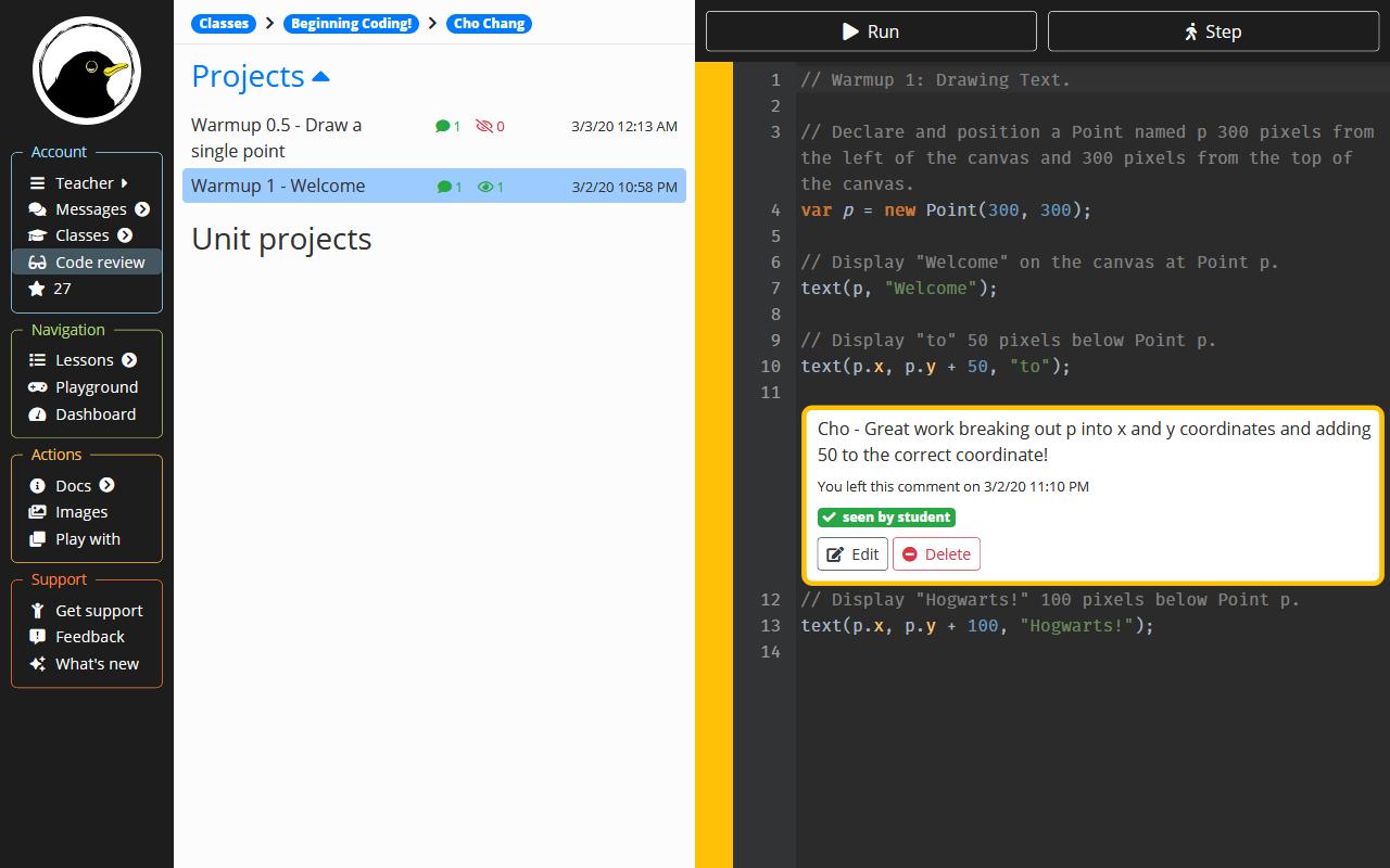 Interact via code review