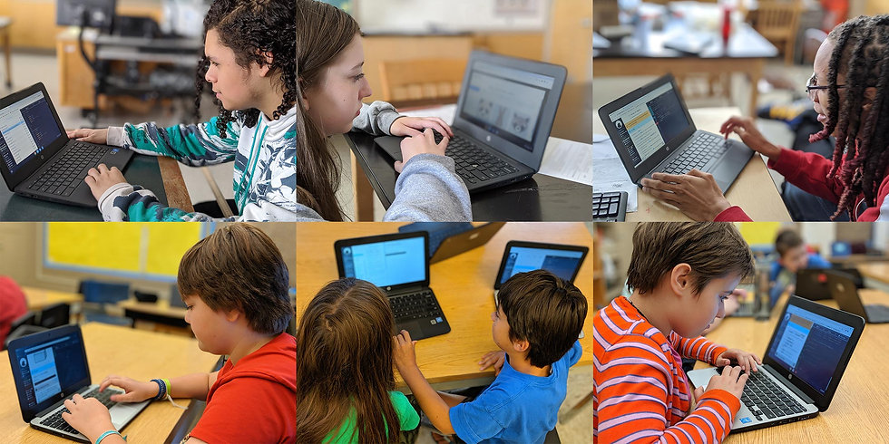 A grid of images of students using blackbird school