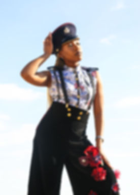 Peace and Freedom Blue floral sleeveless shirt with black and red velvet trousers