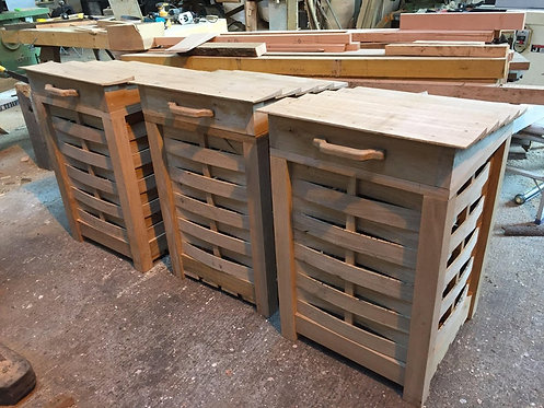 Handmade Oak Garden Storage Boxes