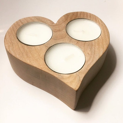 Heart Shaped Wooden Candle Holder