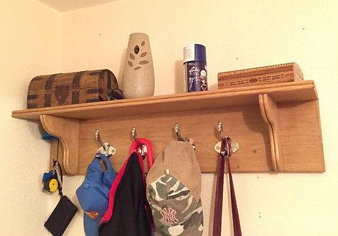 Oak Coat Rack & Shelf
