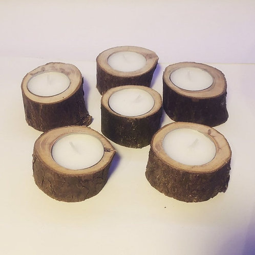 6 Small Wooden Candle Holders