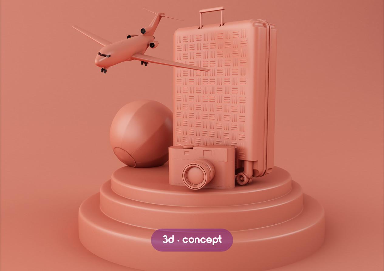 3d travel concept