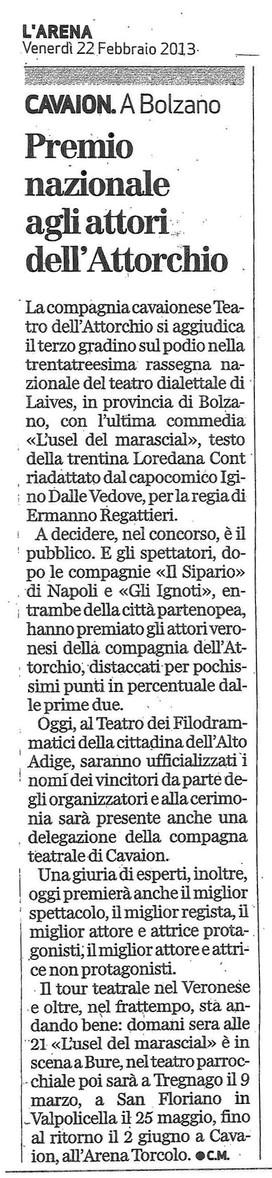 Giornale L'Arena 22.02.2013