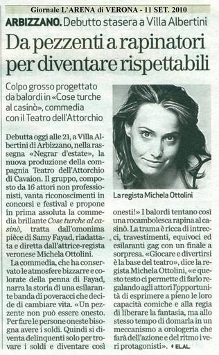 Giornale L'Arena 11.09.2010