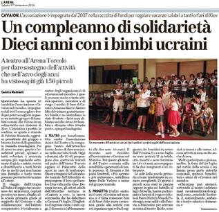 Giornale L'Arena 17.9. 2016