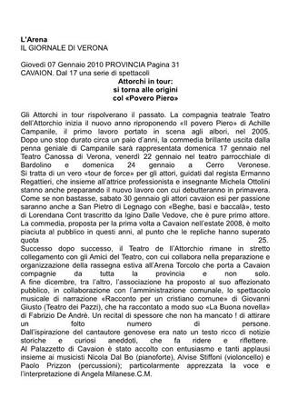 Giornale L'Arena 07.01.2010