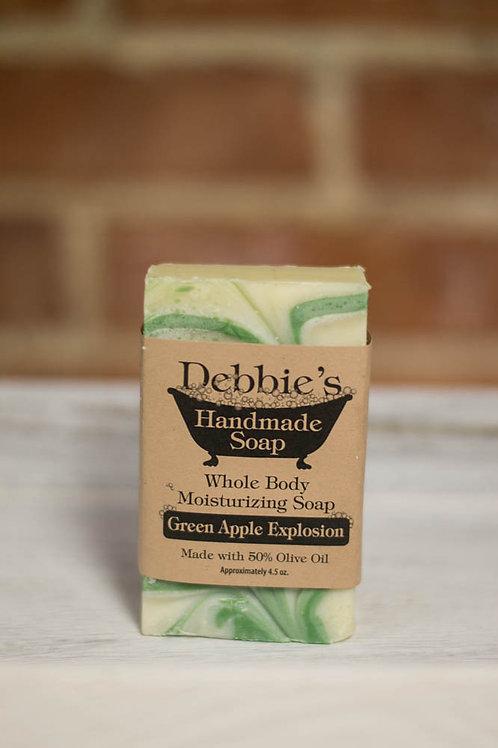 Green Apple Explosion, Handmade Soap, 50% Olive Oil Soap