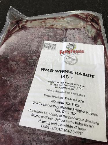Wild whole  rabbit  with  fur  1kg