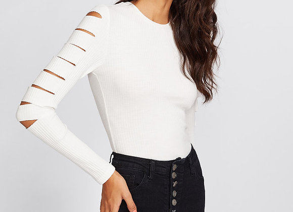Knitted Sleeve Ripped Top