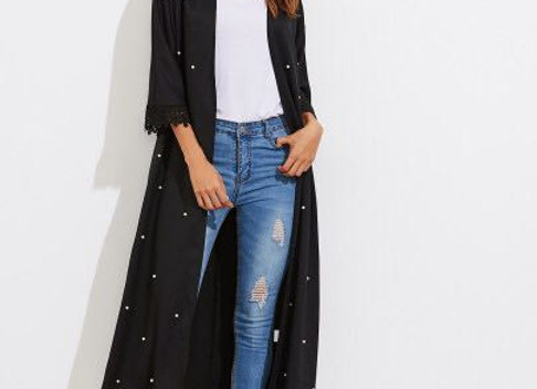 Black Long Cardigan with Pearls