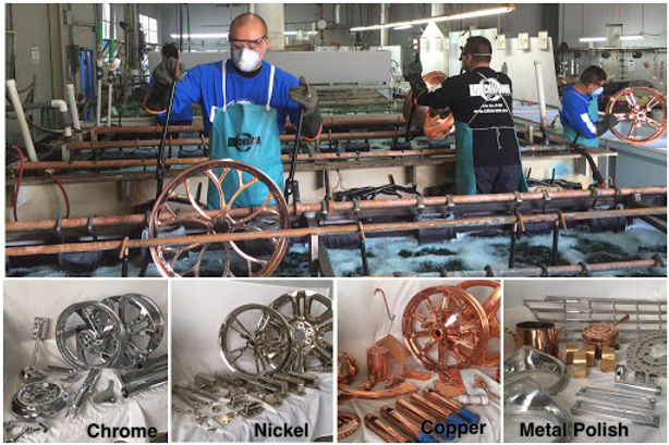 Chrome plating USA workers plating rims.