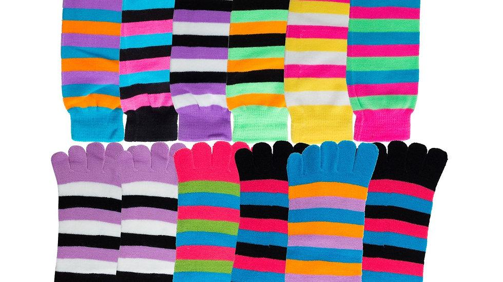 Assorted stripes  toe socks