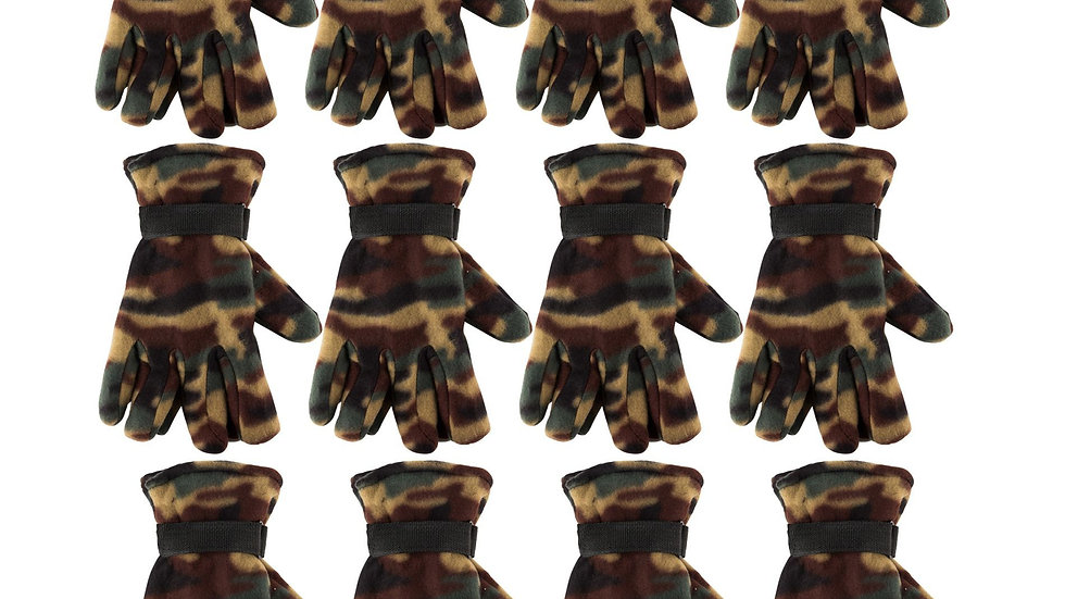Camo one size fits all fleece gloves