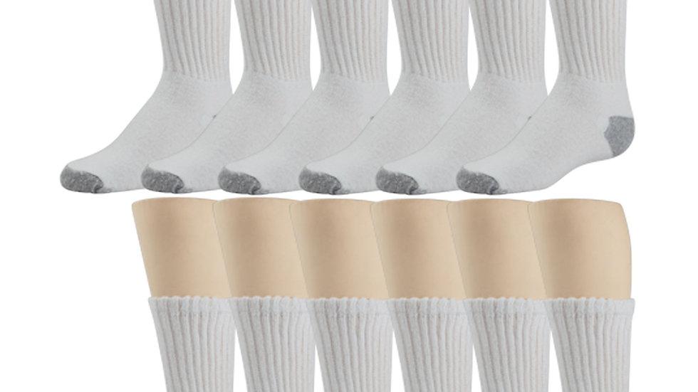 3 pack White Sport Socks Gray Heel & Toe