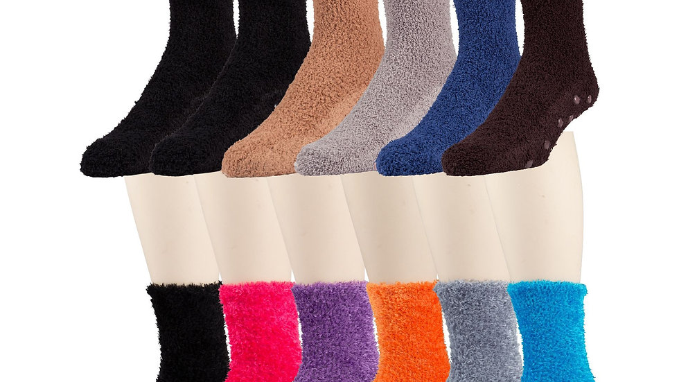 Asst. dark colors solid soft sock w/ non grip sole