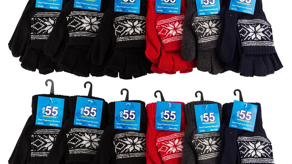 Assorted dark colors one size fits all adult fingerless glovemit