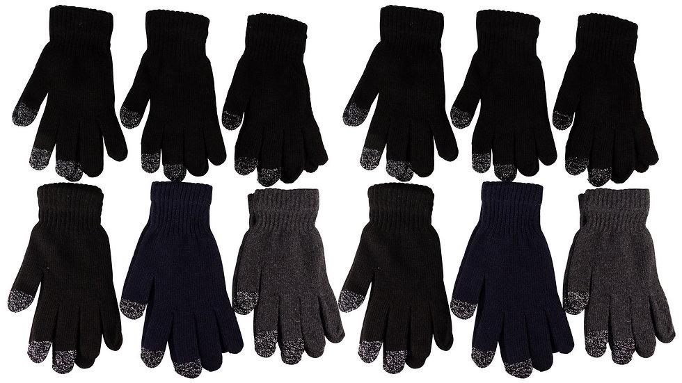 12 pk Lurex Knit Touchscreen Magic Gloves Colors