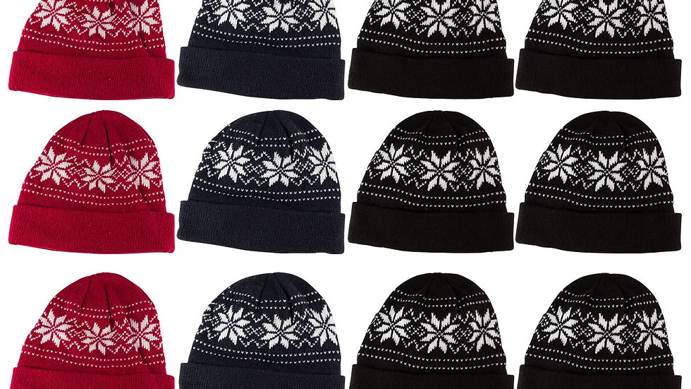 Assorted dark colors one size fits all snowflake design cuff hat