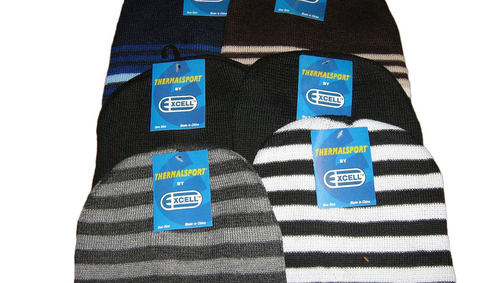 Assorted dark colors one size fits all striped beanie